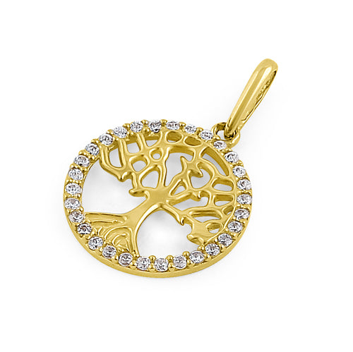 Solid 14K Yellow Gold Tree of Life CZ Pendant