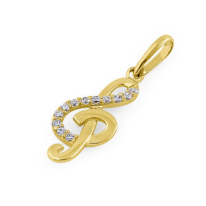 Solid 14K Yellow Gold Music Note CZ Pendant