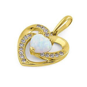 Solid 14K Yellow Gold Heart White Lab Opal CZ Pendant