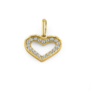 Solid 14K Yellow Gold Outline Heart CZ Pendant