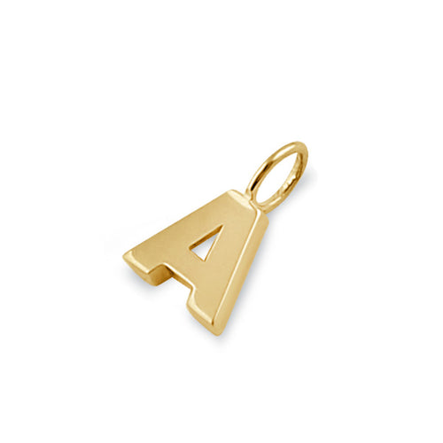 Solid 14K Gold A Initial Pendant