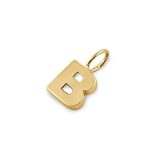 Solid 14K Gold B Initial Pendant
