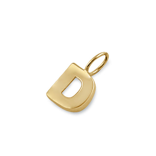 Solid 14K Gold D Initial Pendant