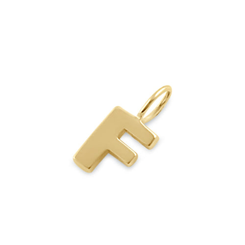 Solid 14K Gold F Initial Pendant