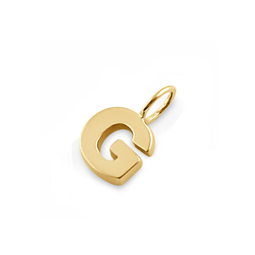 Solid 14K Gold G Initial Pendant