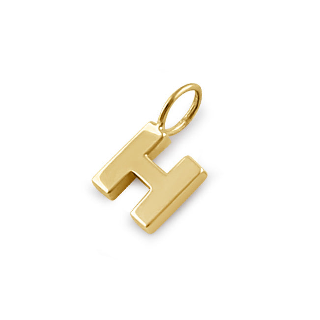 Solid 14K Gold H Initial Pendant