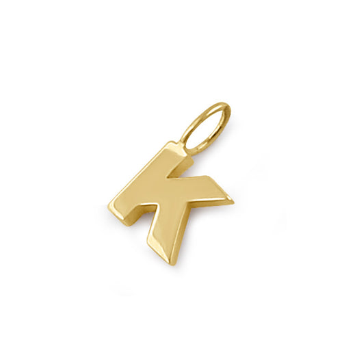 Solid 14K Gold K Initial Pendant