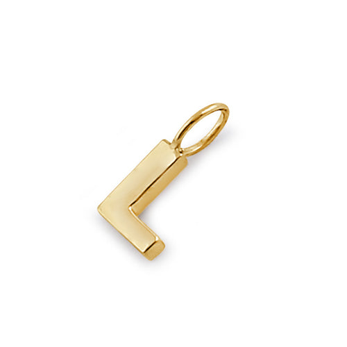 Solid 14K Gold L Initial Pendant