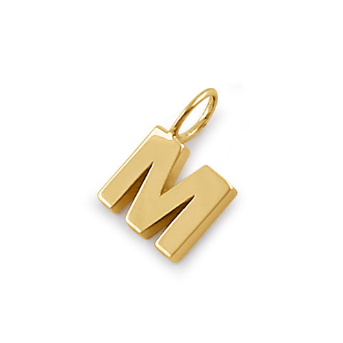 Solid 14K Gold M Initial Pendant