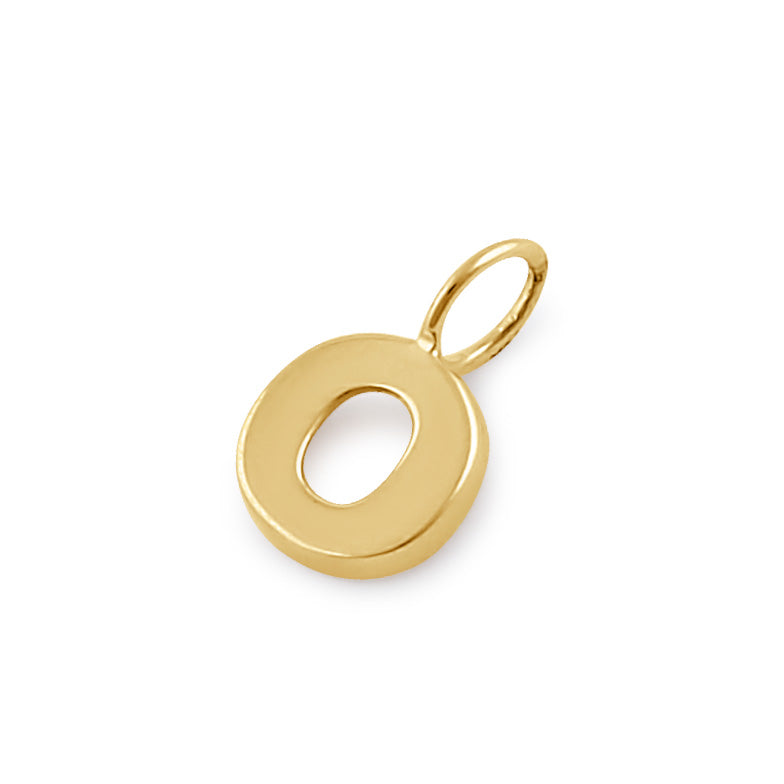 Solid 14K Gold O Initial Pendant
