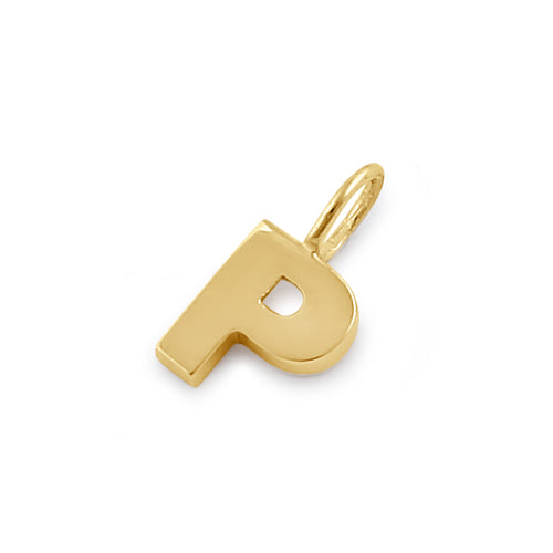 Solid 14K Gold P Initial Pendant