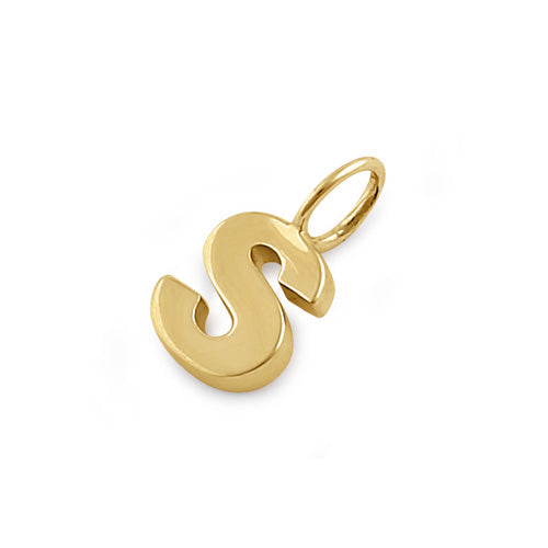 Solid 14K Gold S Initial Pendant