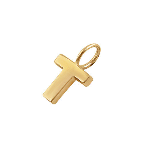 Solid 14K Gold T Initial Pendant