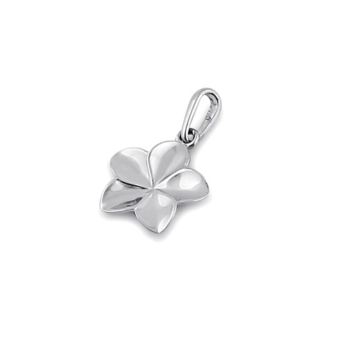 Solid 14K White Gold Plumeria Flower Pendant