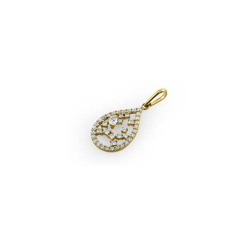 Solid 14K Yellow Gold Floral Pattern Drop Shaped CZ Pendant