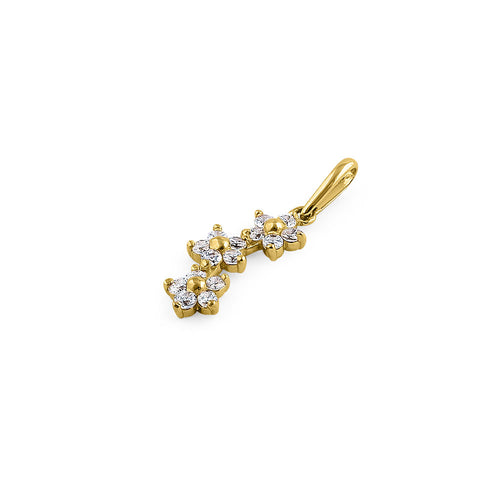 Solid 14K Yellow Gold Small Triple Plumeria CZ Pendant
