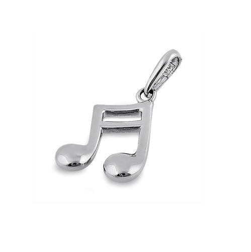 Solid 14K White Gold Music Note Pendant