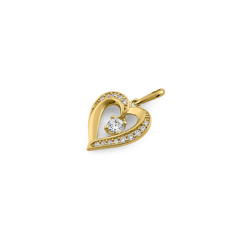 Solid 14K Yellow Gold Sparkling Heart CZ Pendant
