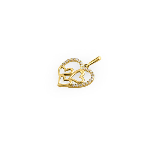 Solid 14K Yellow Gold Quad Heart CZ Pendant