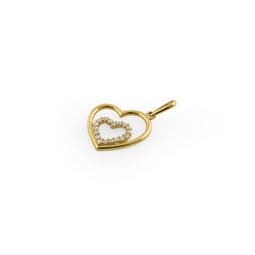 Solid 14K Yellow Gold Inner Heart CZ Pendant