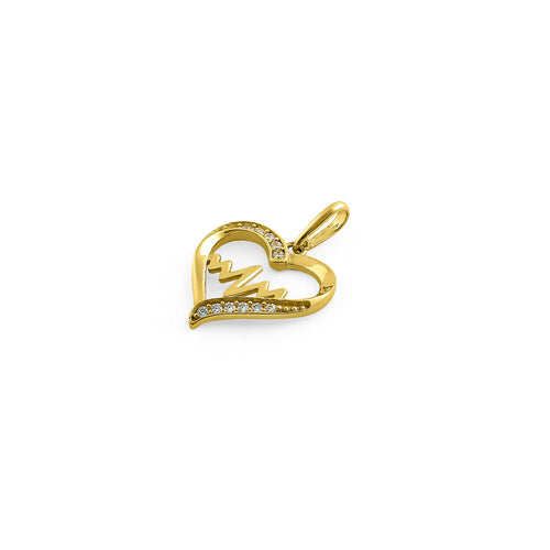 Solid 14K Yellow Gold Heart Beat CZ Pendant