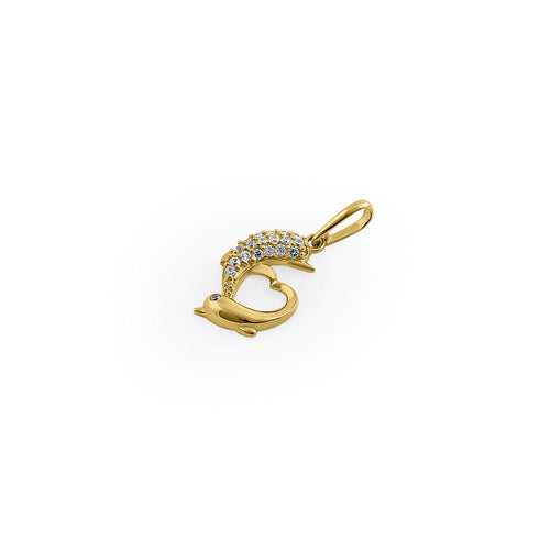 Solid 14K Yellow Gold Double Dolphin Heart CZ Pendant