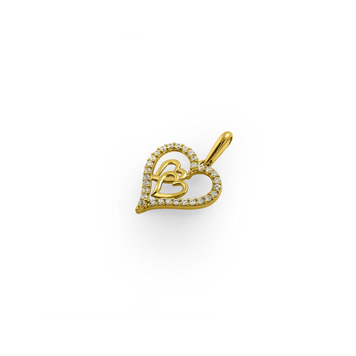 Solid 14K Yellow Gold True Love CZ Pendant