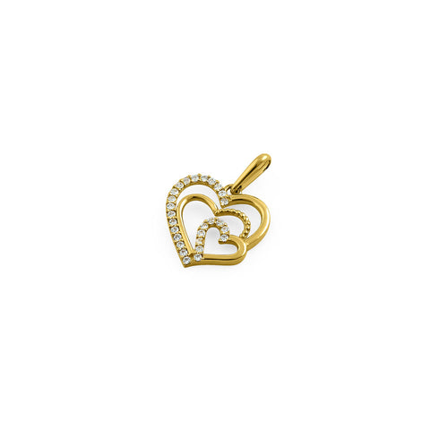 Solid 14K Yellow Gold Triple Heart CZ Pendant