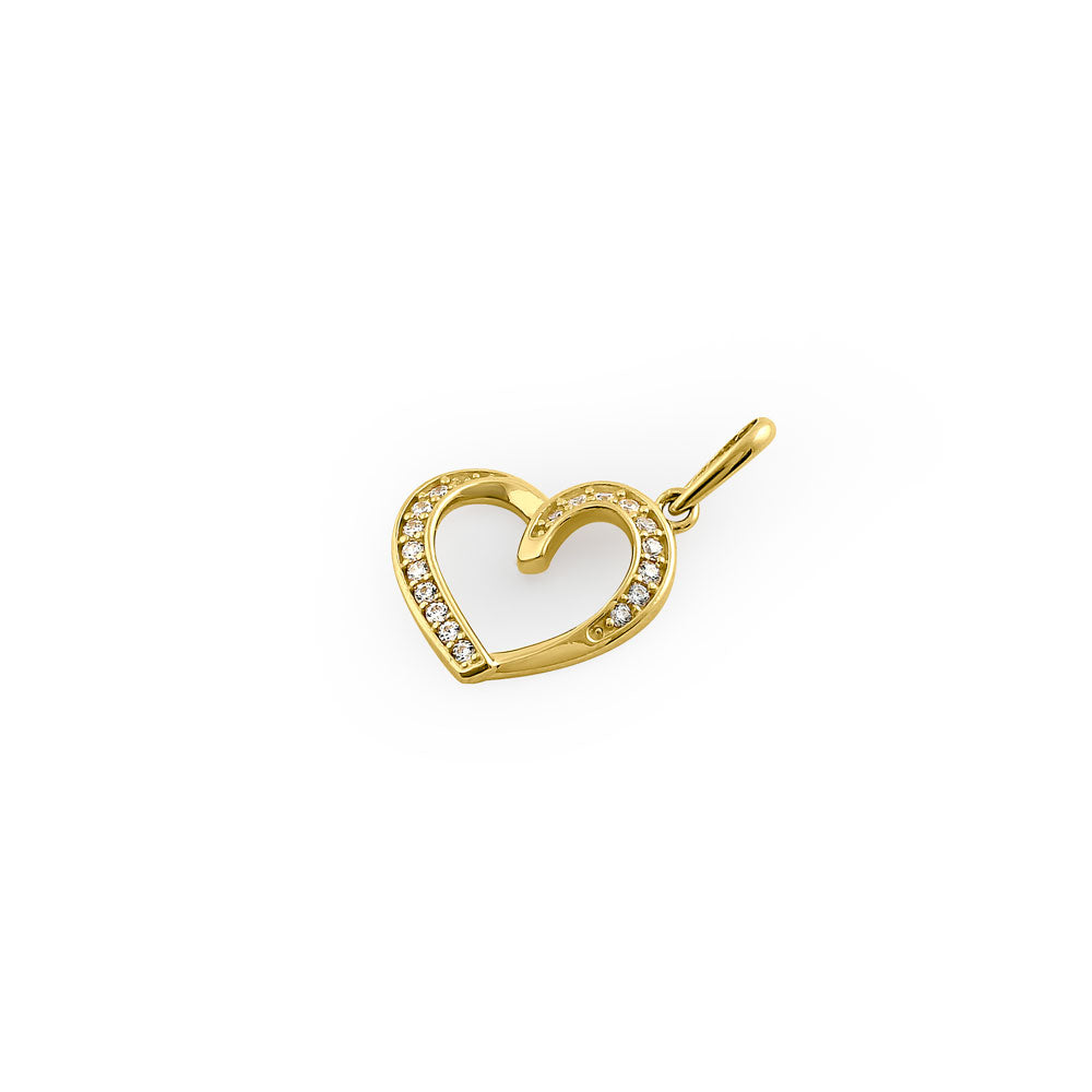 Solid 14K Yellow Gold Generous Heart CZ Pendant