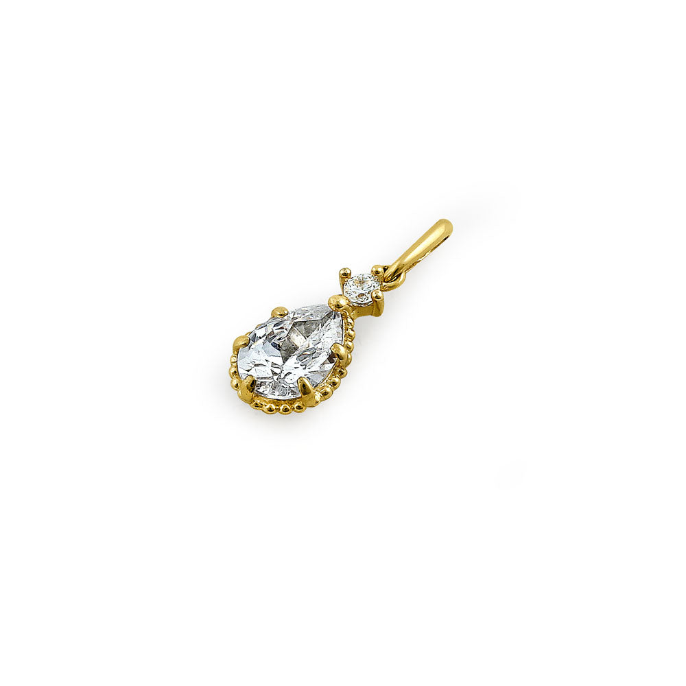 Solid 14K Yellow Gold Regal Pear Cut CZ Pendant