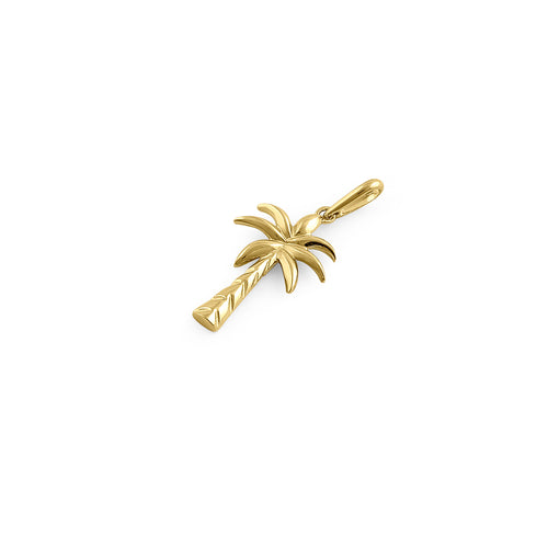 Solid 14K Yellow Gold Palm Tree Pendant