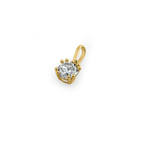 Solid 14K Yellow Gold 6mm Round Cut CZ Pendant