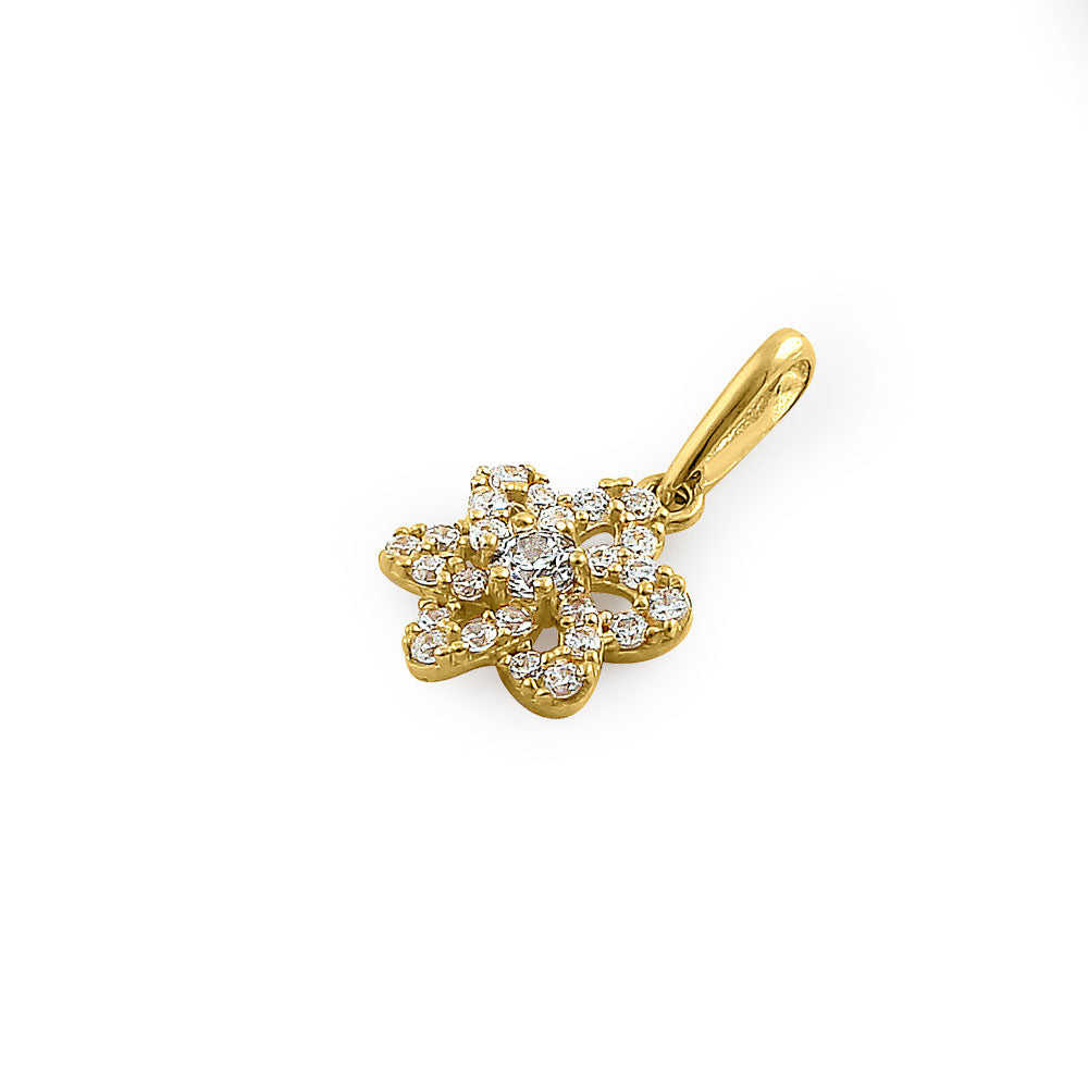 Solid 14K Yellow Gold Sparkling Flower CZ Pendant