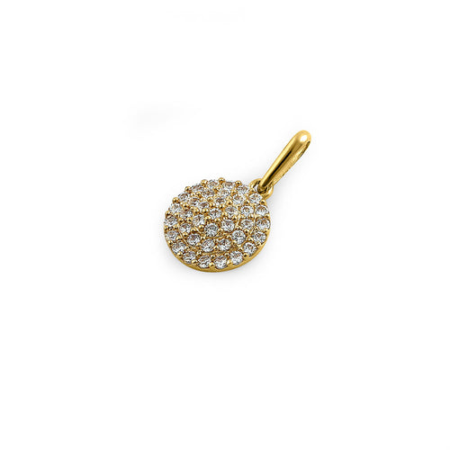 Solid 14K Yellow Gold Shield Pave CZ Pendant