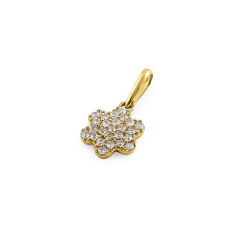 Solid 14K Yellow Gold Flower Pave CZ Pendant