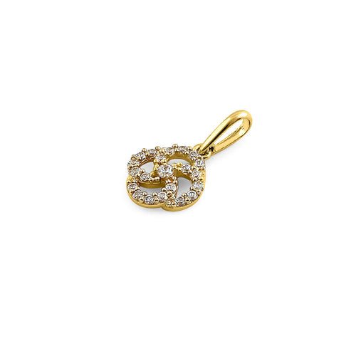 Solid 14K Yellow Gold Celtic Swirl CZ Pendant