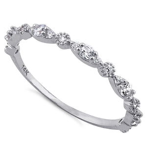 Solid 14K White Gold Thin Elegant Round Clear CZ Ring