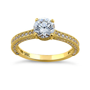 Solid 14K Yellow Gold Classic Round CZ Engagement Ring
