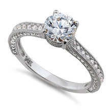 Load image into Gallery viewer, Solid 14K White Gold Classic Round CZ Engagement Ring