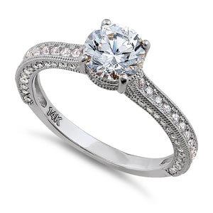 Solid 14K White Gold Classic Round CZ Engagement Ring