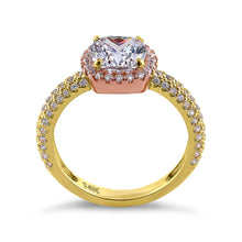 Load image into Gallery viewer, Solid 14K Yellow Gold & Rose Gold Plated Cushion Cut CZ Engagement Ring