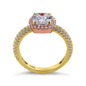 Solid 14K Yellow Gold & Rose Gold Plated Cushion Cut CZ Engagement Ring