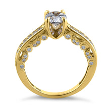 Load image into Gallery viewer, Solid 14K Yellow Gold Elegant Round Cut CZ Engagement Ring