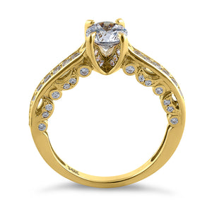 Solid 14K Yellow Gold Elegant Round Cut CZ Engagement Ring