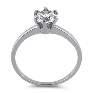 Solid 14K White Gold Round 6mm Clear CZ Ring
