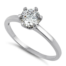 Load image into Gallery viewer, Solid 14K White Gold Round 6mm Clear CZ Ring