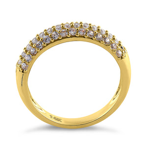 Solid 14K Yellow Gold Pave Round CZ Cluster CZ Ring