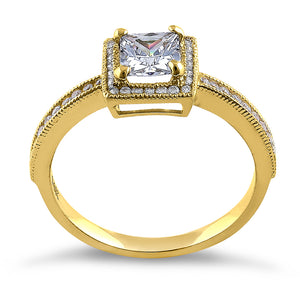 Solid 14K Yellow Gold Princess Cut Frame Halo CZ Engagement Ring