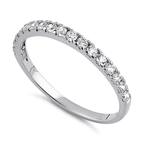 Solid 14K White Gold Half Eternity Clear CZ Ring