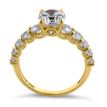 Load image into Gallery viewer, Solid 14K Yellow Gold Regal Round Cut CZ Engagement Ring